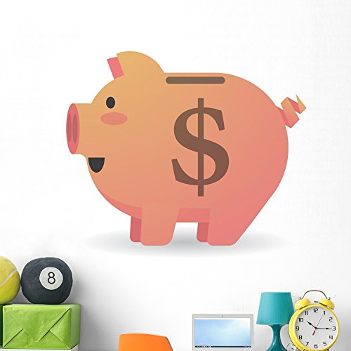 Wallmonkeys Piggy Bank Currency Wall Decal Peel and Stick Vinyl Graphic (48 in H x 48 in W) ()