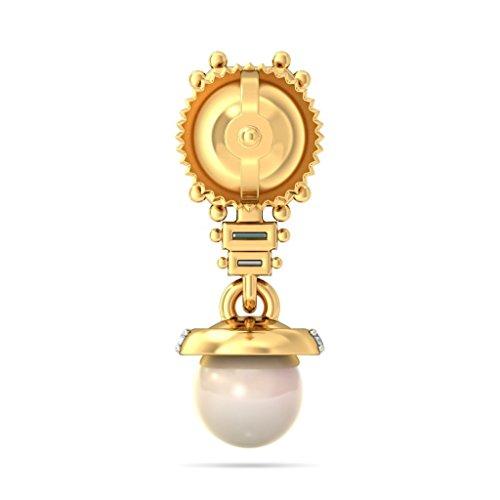 14K Or jaune 0.18CT TW White-diamond (IJ | SI) et émeraude et blanc cassé Perle Boucles d'oreilles
