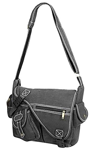 Canvas Vintage Grey Messenger Urban Multi Shoulder 3 Design Cross Pocket Bag Body drYrq6Pn