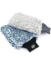 The Rag Company - Premium Cyclone Wash Mitts - 70/30 Blend Korean Microfiber, Foam Padding, Scratch-Free, Lint-Free, 8in x 9in, Blue + Grey (2-Pack)