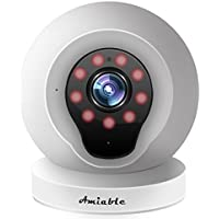 Amiable Smart WiFi IP Camera 720P Wireless Network Security Surveillance Video Camera System Nanny/Baby Monitor with Remote Monitoring HD Webcam for Android/iOS/iPhone(White)