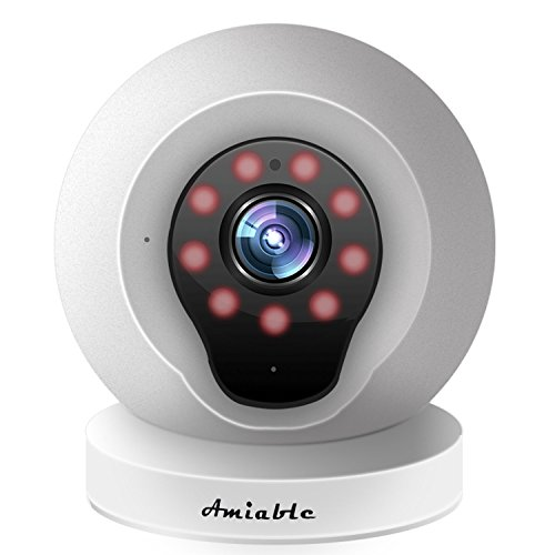 Amiable Smart WiFi IP Camera 720P Wireless Network Security Surveillance Video Camera System Nanny/Baby Monitor with Remote Monitoring HD Webcam for Android/iOS/iPhone(White) by AMIABLE