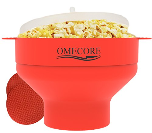 Collapsible Microwave Popcorn Popper Maker Hot Air Silicone Bowl with Lid