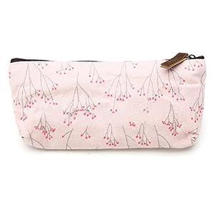 Pink Flower Floral Pencil Pen Case Cosmetic Makeup Tool Bag Storage Pouch Purse