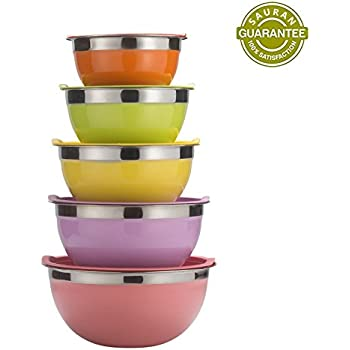 Amazon.com: Sauran 5 Piece Mixing Bowls Large 5 Quart Capacity ...