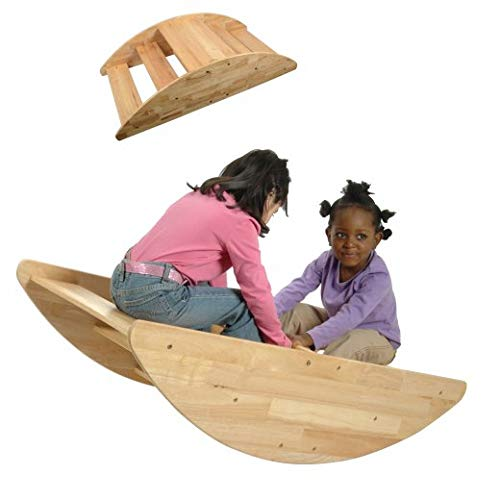 Constructive Playthings Wooden Rocking Boat for Children, Turn Over for Use as Steps, Seats up to 4 Children, for Ages 2 and -