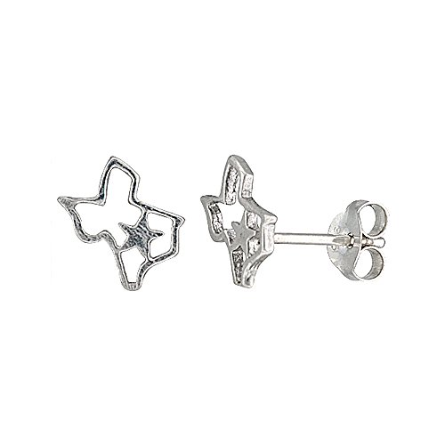Tiny Sterling Silver Texas Earrings