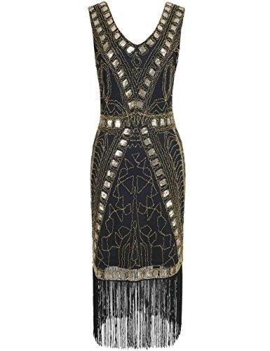 PrettyGuide Mujeres 1920s Vestido de Flapper Art Deco Lentejuela Inspirado Vestido de Cóctel Oro