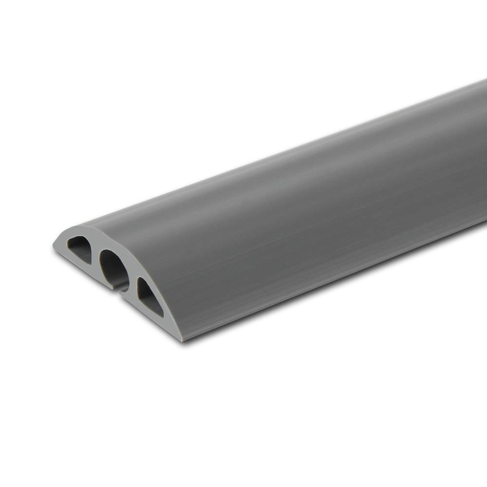6.5 feet Floor Cable Cover - Straight Cord Protector - Durable Low Profile PVC Duct, Odor Free - Flexible 3 Channel Wire Cover in Workshop, Concerts, Office Home Doorway, 5X L15.6in W2in H0.5in, Grey