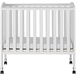 Dream On Me 2 in 1 Portable Folding Stationary Side Crib, White