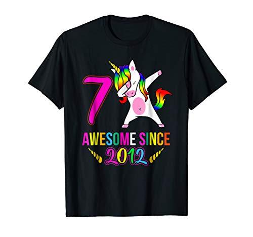Girls 7th Birthday Unicorn TShirt