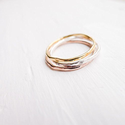 (Hammered Thin Rings Set of 3 Sterling Silver Rose Gold Gold Filled Size 7)