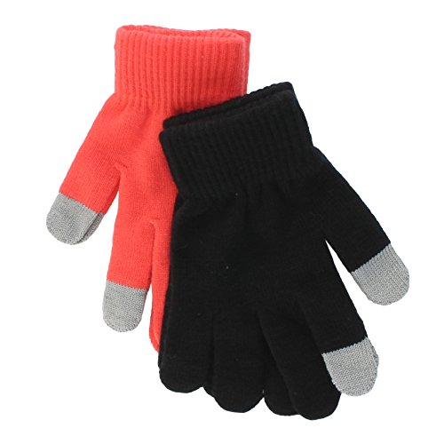 Price comparison product image So Teen Girls 2 Pack Touchscreen Gloves - Neon Orange/Black