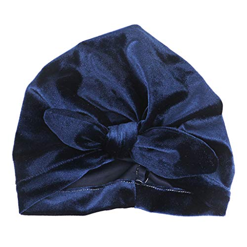 (RingBuu Newborn, Toddler, Baby, Pleuche Cloth, Turban Hat, Solid Color, Knotted, Ruched, Beanie Cap, Elastic, Rabbit Ear, Bowknot, Head Wrap (Navy))