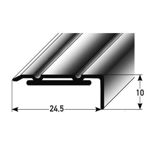 Perfil en á ngulo (aluminio anodizado, 100 x 24,5 mm, autoadhesivo), color plata acerto24
