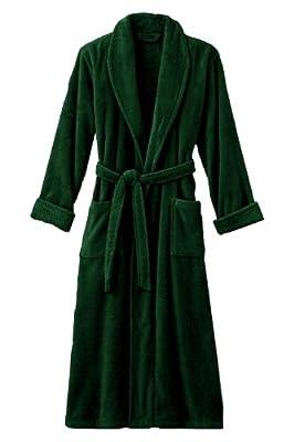 "Mens Hunter Green Luxury Terry Velour Bathrobe 48"" Length 100% Cotton"