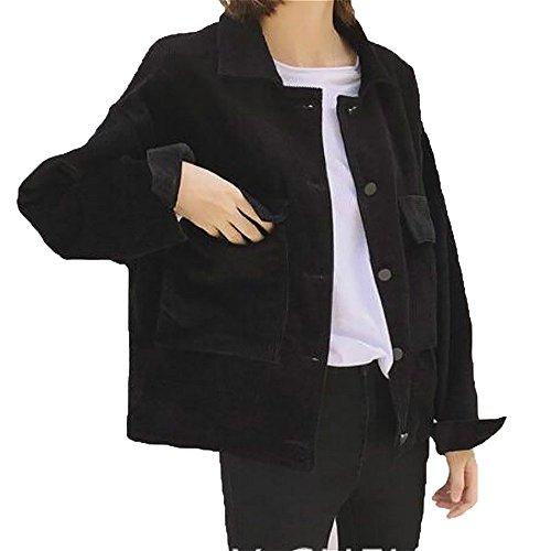 YOUMU Women Corduroy Jacket Top Shirt Coat Casual Vintage Loose Fashion Retro - Top Shirt Corduroy