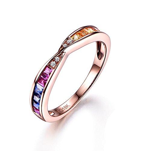 Natural Genuine Ruby Sapphire Diamond 14k Rose Gold Unique Rainbow Engagement Ring Half Eternity Vintage
