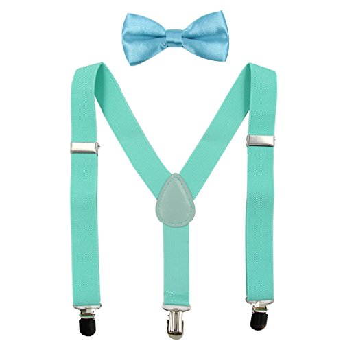 (Hanerdun Kids Suspender Bowtie Sets Adjustable Suspender With Bow Ties Gift Idea For Boys And Girls, Mint Green, One Size )