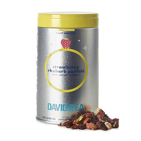 DAVIDsTEA Strawberry Rhubarb Parfait Loose Leaf Tea Iconic Tin, Premium Herbal Tea with Hibiscus and Yogurt, Fruity Iced Tea, 82 g / 2.9 oz