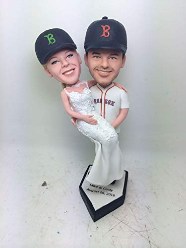 Red Sox Personalized Wedding Cake Toppers Red Sox Custom Bobble Head Baseball Theme Topper Red Sox Groom Holding Bride Baseball Cake Toppers (Head Bobble 2 Custom)