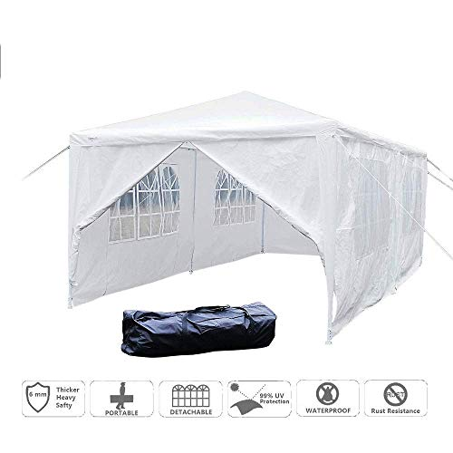 Mefeir 10'x20' Outdoor Canopy Party Wedding Tent with 6 Removable Sidewalls,Upgraded Thick Tube, Waterproof Sun Shelter Anti UV Protection for carport Gazebo Outdoor Beach Backyard Pool