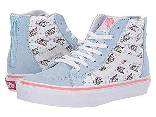Vans Kids Sneakers - Vans Kids Girl's Sk8-Hi Zip (Little Kid/Big Kid) (Unicorn) Cool Blue/True White 7 M US Big Kid