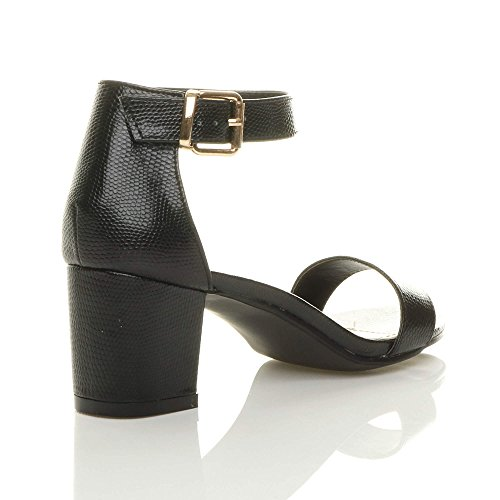 Ajvani Womens Ladies Low mid Block Heel peep Toe Buckle Ankle Strap Party Strappy Sandals Shoes Size Black Lizard FjewmsR