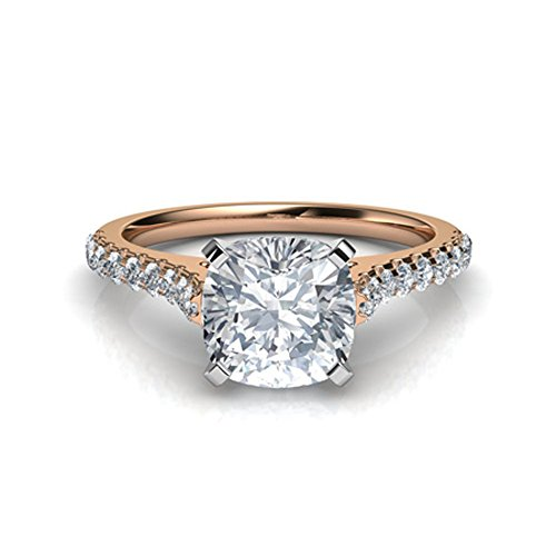 (luxrygold 1Ctw Cushion & Round Clear CZ Diamond 14K Rose Gold Plated Tall Cathedral Engagement Ring)