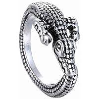 Ransopakul Fashion Men Women Crocodile Animal Ring Adjustable Silver Alligator Finger Wrap