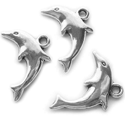 50 pcs Dolphin Antique Silver Pendants for Jewelry Making Supplies Bracelet Necklace Jewelry Accessories Beading ()