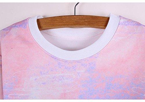 shirt Sweat Avec Manche Longue Acvip Top Nombril Femme Fleur Bâtiment Imprimé Rose Ouvert t5qWAxEn