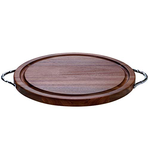 Certified International 22528 Acacia Wood Round Cutting Board with Metal Handles, 19.5
