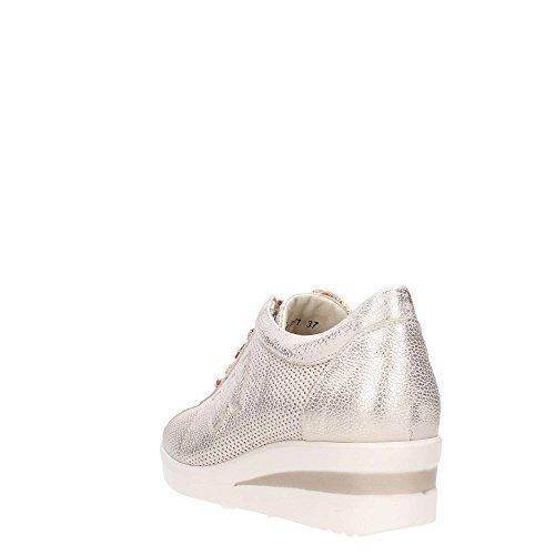 effetto zeppa con spazzolata Platino Sneakers beige oro Melluso pelle in wRRqAX8f