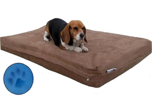 XXXL Jumbo Large 55″X47″X4″ Orthopedic Memory Foam Pet Dog Bed with waterproof brown Microsuede cover for larger dog, My Pet Supplies
