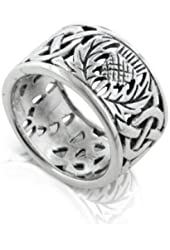 Scottish Thistle and Celtic Knot Wedding Band 11mm Wide Sterling Silver Ring(Sizes 3,4,5,6,7,8,9,10,11,12,13,14,15)