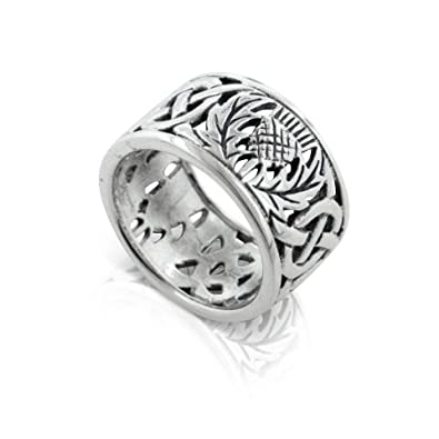 Scottish Thistle And Celtic Knot Wedding Band 11mm Wide Sterling Silver Ring Size 3Sizes