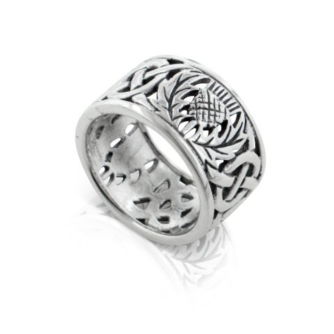 Scottish Thistle and Celtic Knot Wedding Band 11mm Wide Sterling Silver Ring