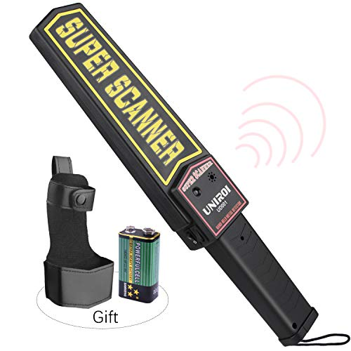 UNIROI Hand Held Metal Detector Wand Security Scanner with 9V Battery, Belt Holster, Adjustable Sensitivity, Optional Sound & Vibration Modes for Airport, Open Port, Frontier, Company Entrance UD001 - Optional Detector