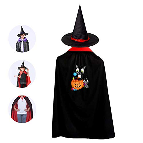 69PF-1 Halloween Cape Matching Witch Hat Sweet Black Cat Wizard Cloak Masquerade Cosplay Custume Robe Kids/Boy/Girl Gift Red