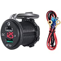 SODIAL Dual USB Charger Socket with LED Voltmeter Waterproof Dustproof Cover for 12/24V Car Motorcycle Boat PD Type C+ 3…