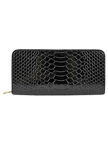 Black Croco Embossed Patent Leather Zippered Wallet Clutch Croco Embossed Clutch