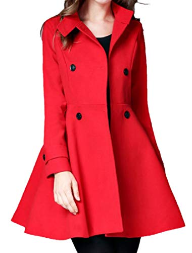 (Zimaes-Women Double Breasted Skirted Cashmere Feel Walker Coat Red M)
