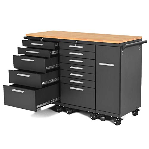 KCHEX>>Rolling Steel Tool Chest Cart 12-Drawers Garage Storage Cabinet Wooden Workbench>>The three cabinets are made of steel, it is durable and strong enough to store all your things
