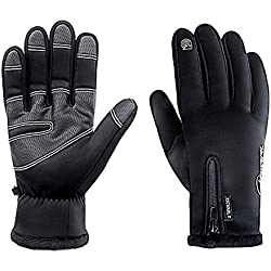 RIGWARL Cycling Gloves for Men,Winter Touch Screen Gloves with Waterproof and Windproof-Non-Slip Silicone Gel and Hand Warmers for Mens' Cycling and Running(Black)