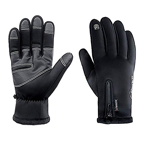 RIGWARL Cycling Gloves for Men,Winter Touch Screen Gloves with Waterproof and Windproof-Non-Slip Silicone Gel and Hand Warmers for Mens Cycling and Running(Black)