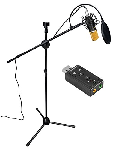 Aokeo Professional Studio Broadcasting / Recording AK-70 Condenser Microphone & AK-107 Folding Type Height Adjustable Microphone Tripod Boom Floor Stand Kit