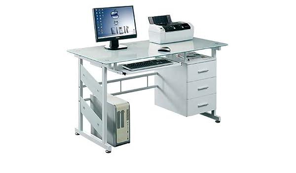 Cristal mesa de ordenador con cajones Blanco PC Hogar Muebles de ...