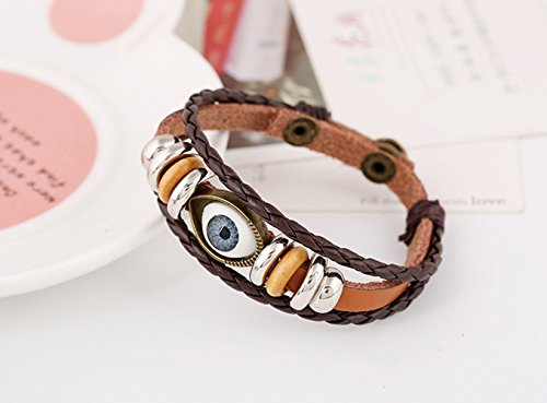 Bracelet Of Wrap Leather Unisex Sexy Evil Eyes Button Brown Adjutable