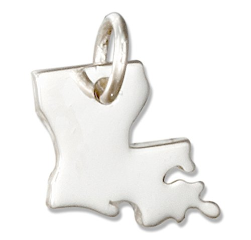 (Sterling Silver Louisiana State Silhouette Charm)